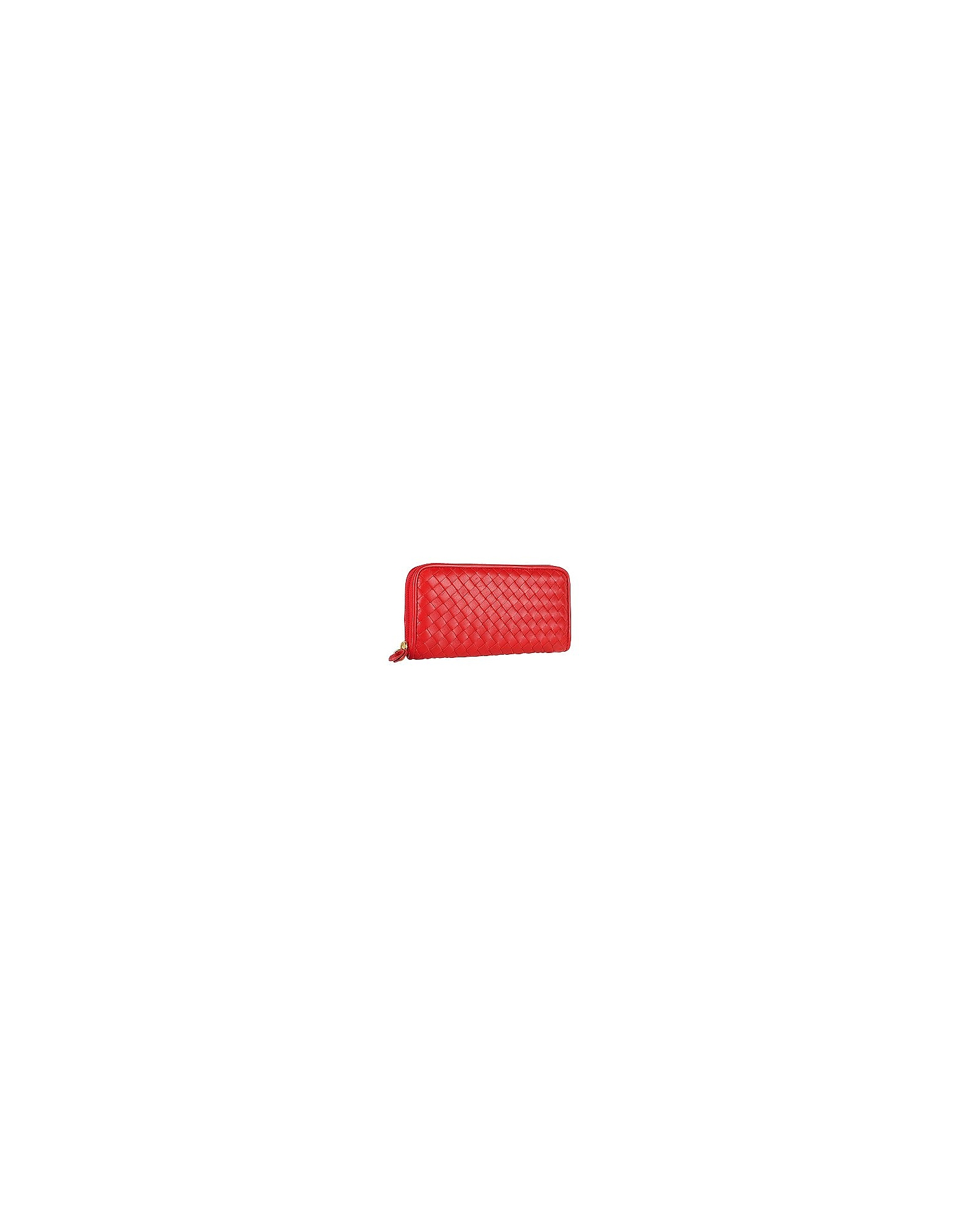 Fontanelli Wallets, Women's Red Italian Woven Leather Concertina Zip Wallet
