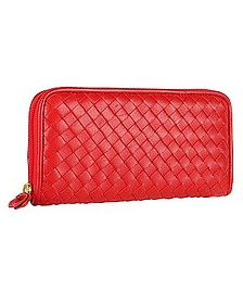 Women's Red Italian Woven Leather Concertina Zip Wallet - Fontanelli