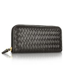 Women's Black Italian Woven Leather Concertina Zip Wallet - Fontanelli