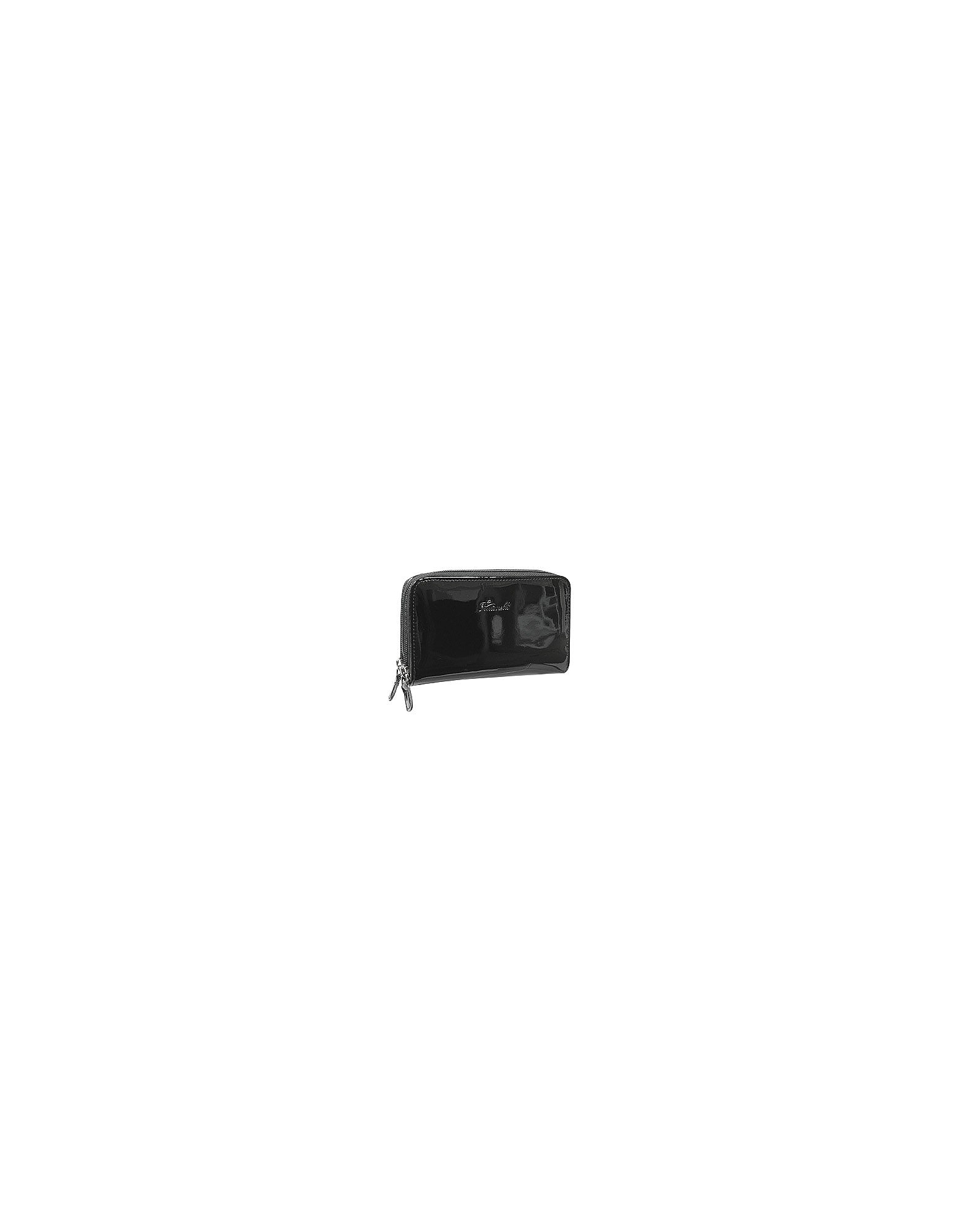 Fontanelli Wallets, Black Patent Leather Zip Wallet