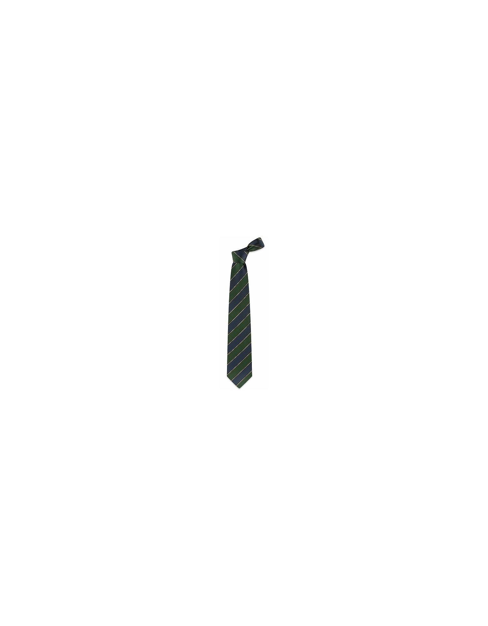 Forzieri Ties, Navy Blue & Green Bands Woven Silk Tie