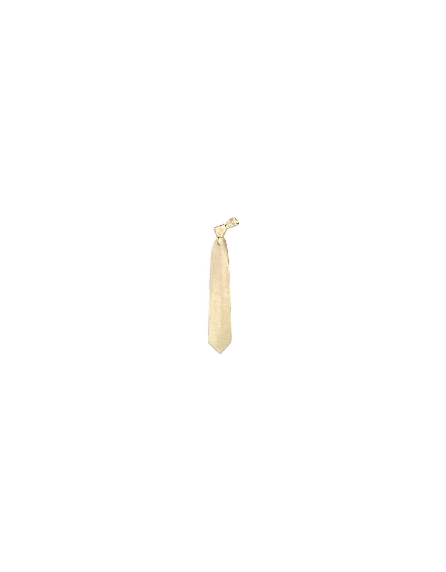 Forzieri Ties, Ivory Solid Smooth Silk Tie