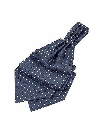 Edwardian Men's Neckties Blue  Yellow Polkadot Pattern Pure Silk Ascot $80.00 AT vintagedancer.com