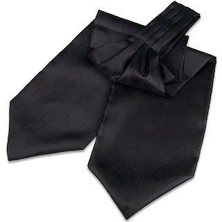 Image of Black Solid Silk Ascot