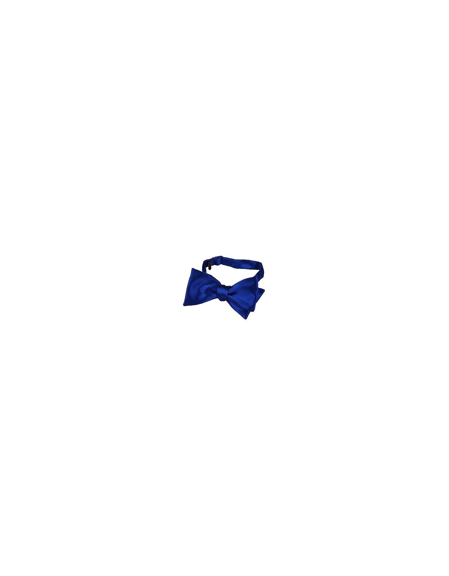 Forzieri Designer Bowties and Cummerbunds, Blue Solid Silk Self-tie Bowtie