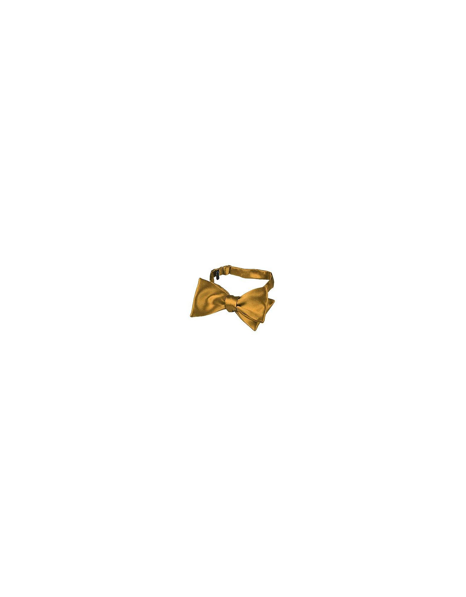 Forzieri Bowties and Cummerbunds, Ocher Yellow Solid Silk Self-tie Bowtie
