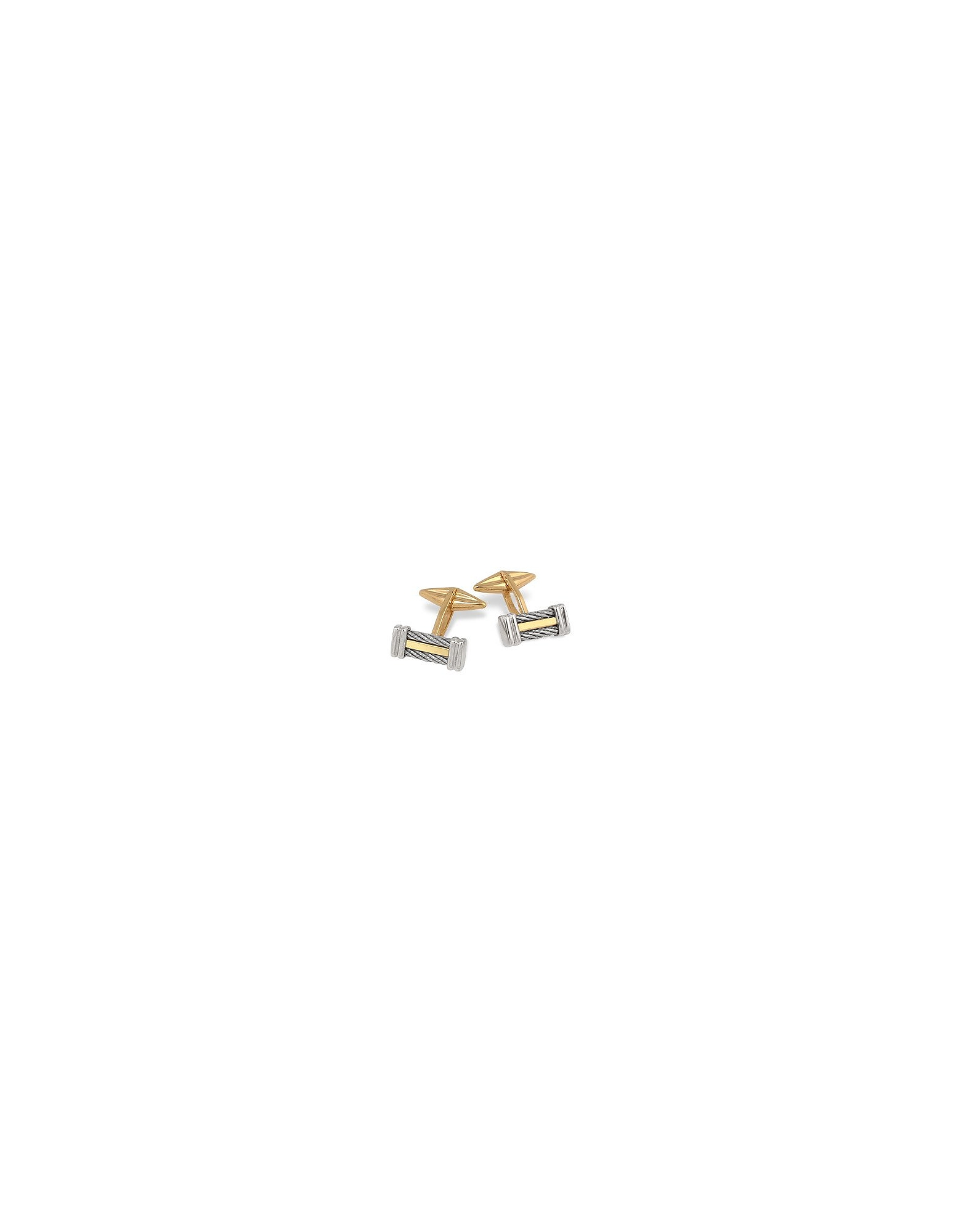 Forzieri Designer Cufflinks, Di Fulco Line Gold and Stainless Steel Cufflinks