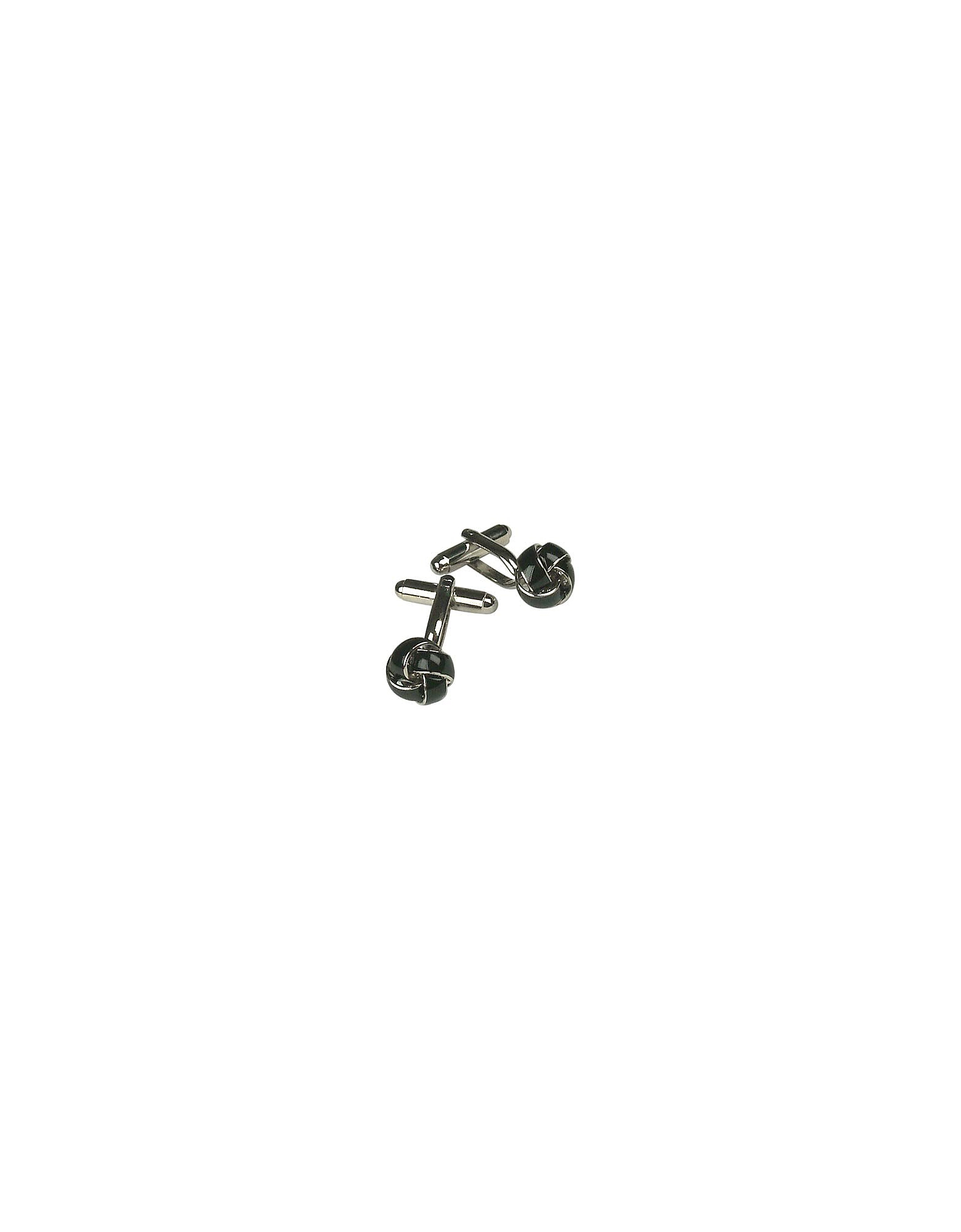 Forzieri Cufflinks, Tresse - Silver Plated Black Knot Cufflinks