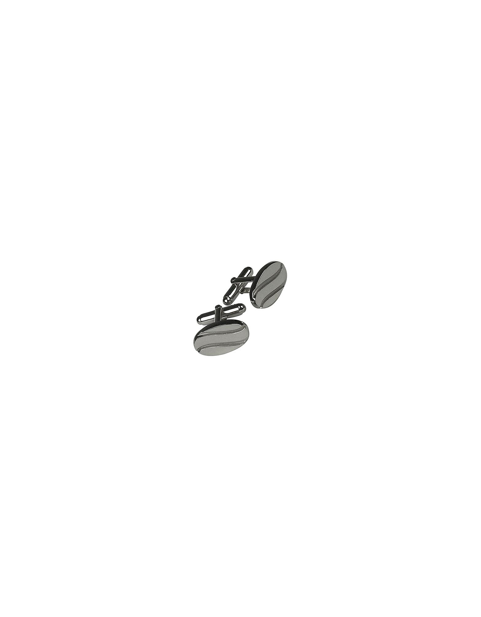 Forzieri Cufflinks, Silver Plated Stripes Cuff Links