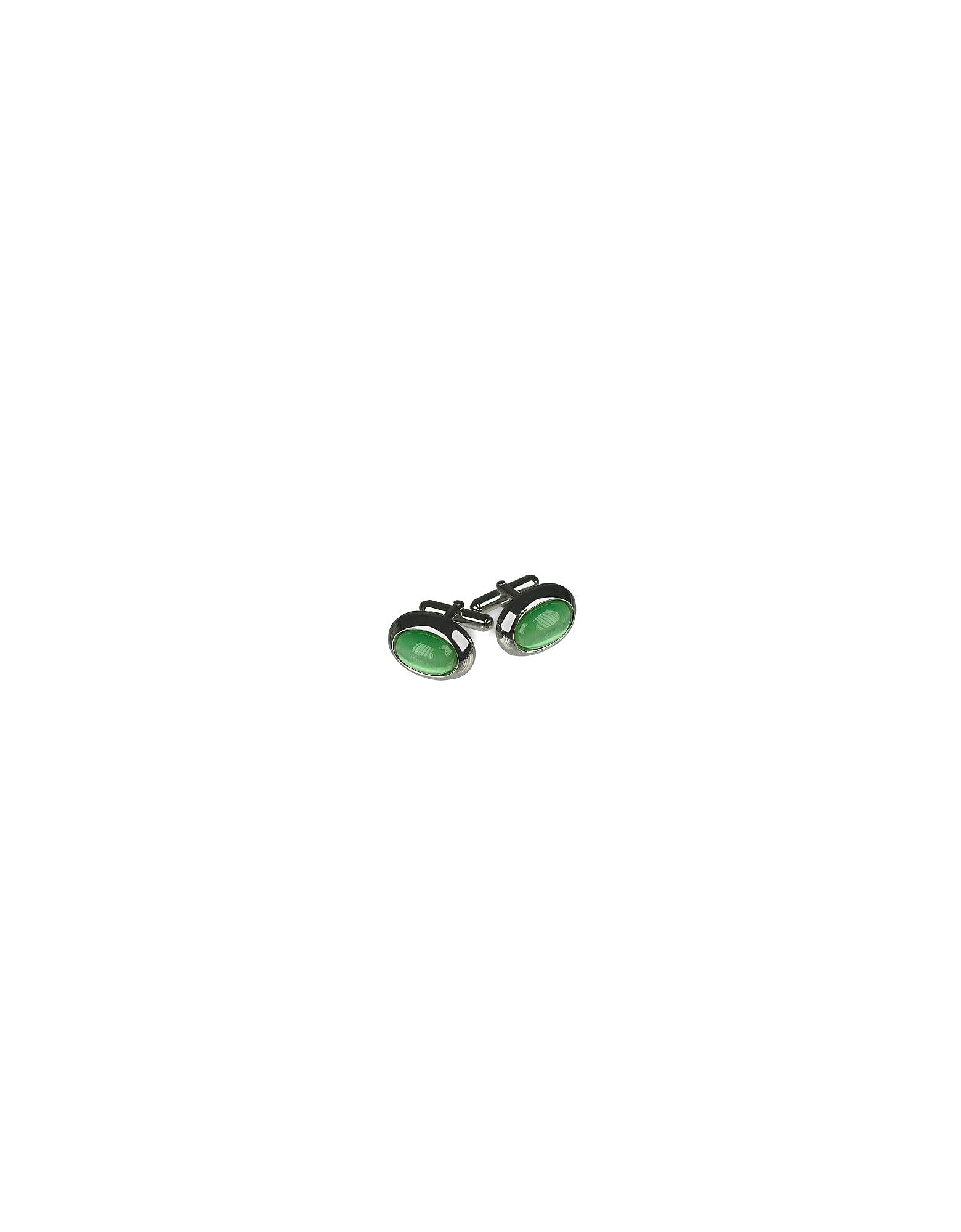 Cat's eye - Gemelli in argento placcato ovali