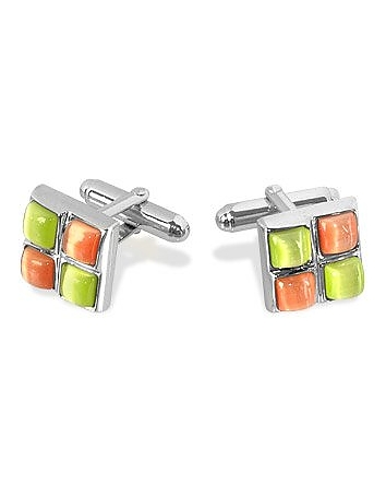 Forzieri - Yellow and Orange Stones Silver Plated Cuff Links