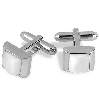 Forzieri Cat's eye - White Pearl Silver Plated Cuff Links