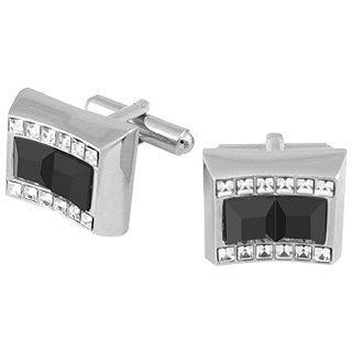 Forzieri Black Square Stones Cufflinks w/Swarovski Cristal