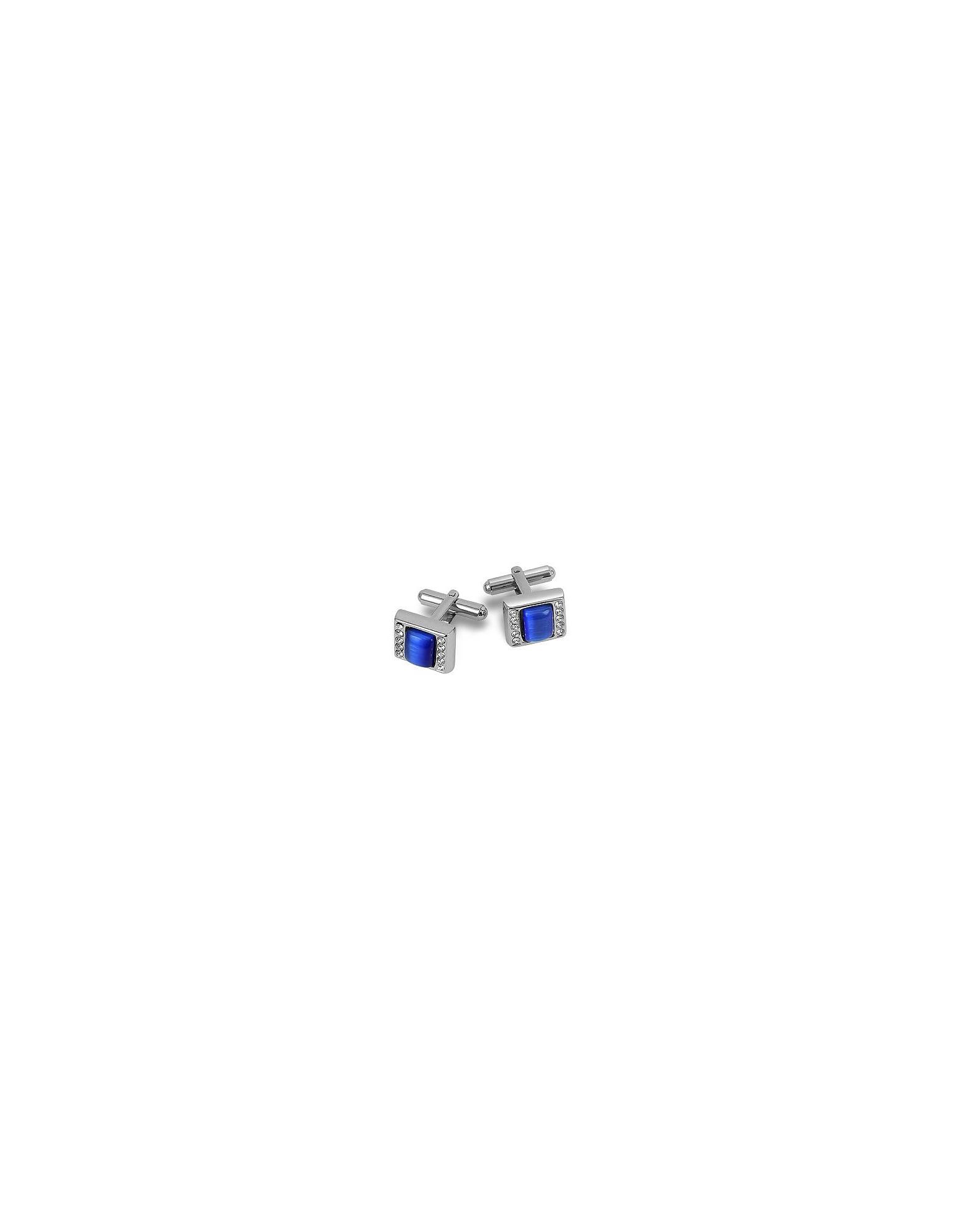 Forzieri Designer Cufflinks, Blue Square Cufflinks