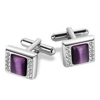Forzieri Purple Silver Plated Cufflinks w/Swarovski Crystals