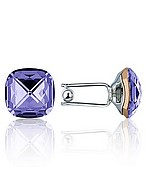 Lux-ID 208304 Violet Crystal Silver Plated Cufflinks