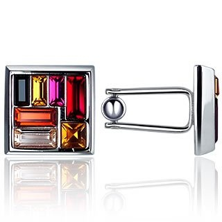 Forzieri Multicolor Swarovski Crystal Silver Plated Cufflinks