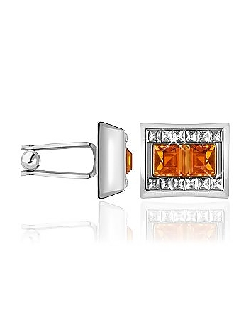 Forzieri - Orange Square Stone Cufflinks