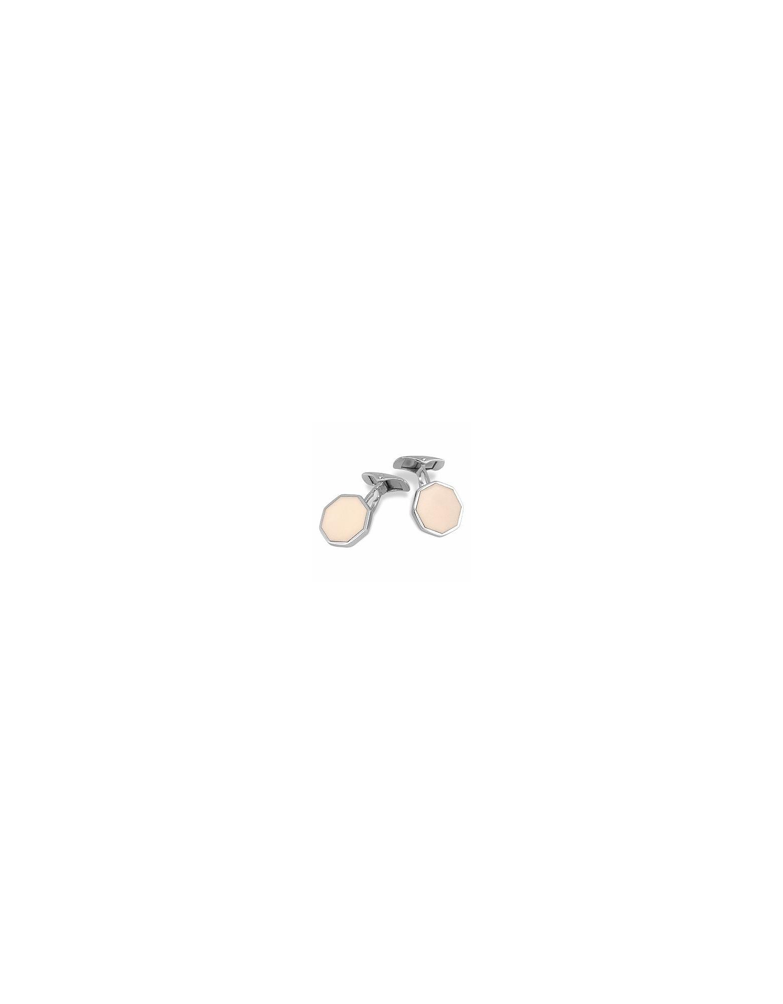 Forzieri Cufflinks, DiFulco Line Octagonal Sterling Silver Cufflinks