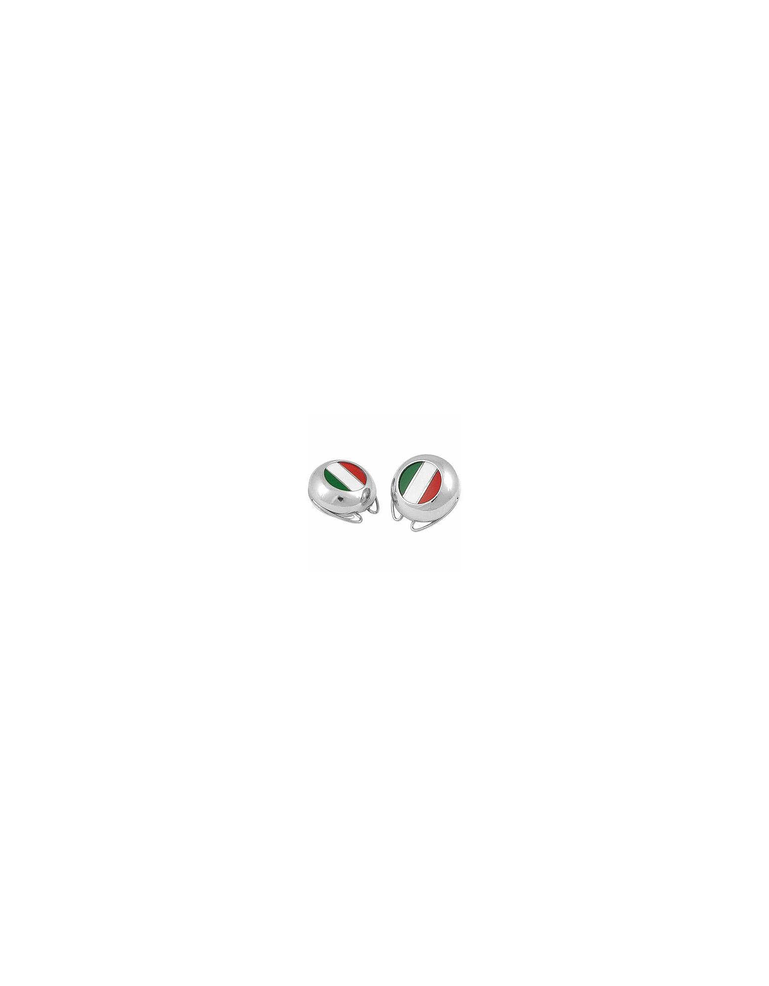 Image of Forzieri Designer Button Covers, Italian Flag Silver Plated Button Covers