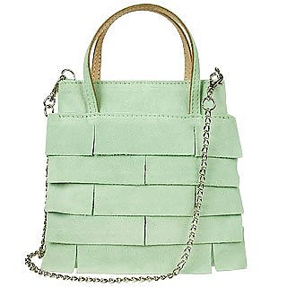 Pale Mint Suede Square Mini Bag w/ Shoulder Chain Strap - Forzieri