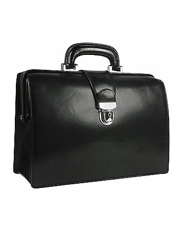 Black Italian Leather Buckled Compact Doctor Bag