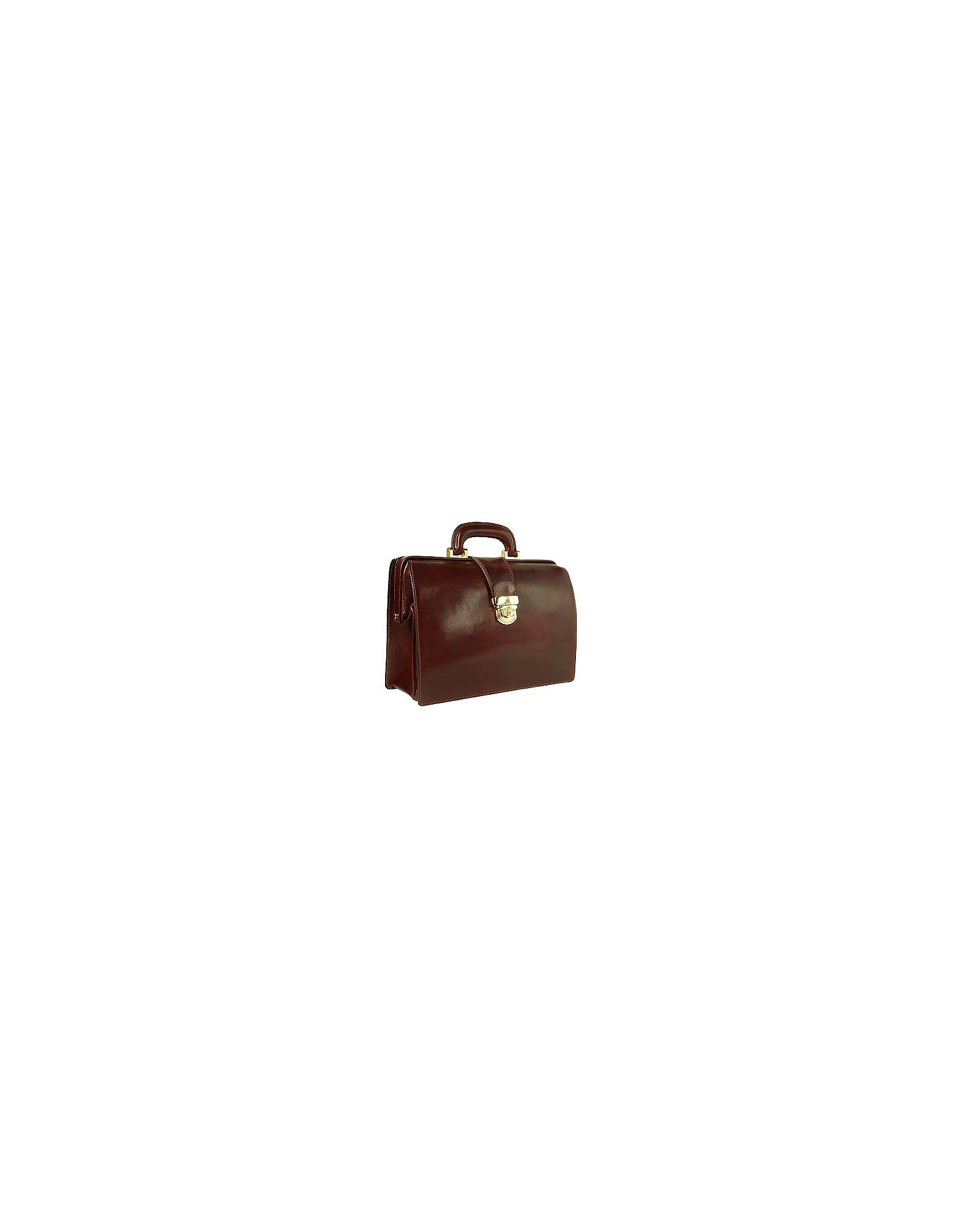 Forzieri Designer Briefcases,  Dark Brown Italian Leather Buckled Compact Doctor Bag