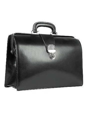 Black Italian Leather Buckled Medium Doctor Bag