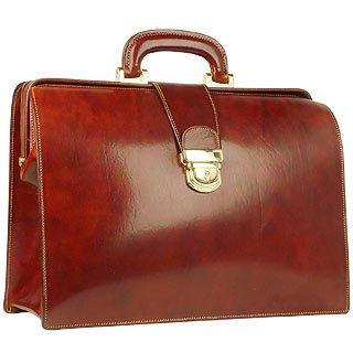 Forzieri  Cognac Italian Leather Buckled Medium Doctor Bag