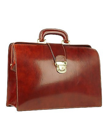 Forzieri - Cognac Italian Leather Buckled Medium Doctor Bag