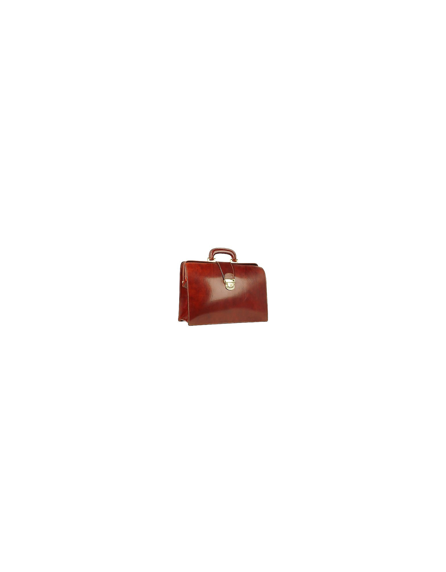 Image of Forzieri Designer Briefcases, Cognac Italian Leather Buckled Medium Doctor Bag