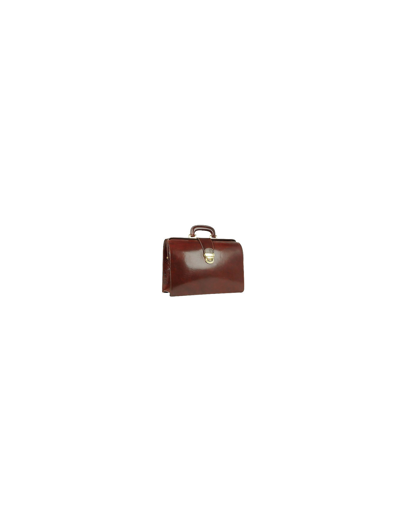 Forzieri Briefcases, Dark Brown Italian Leather Buckled Medium Doctor Bag