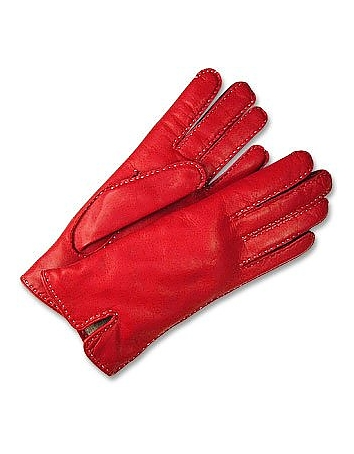 Women's Stitched Silk Lined Red Italian Leather Gloves