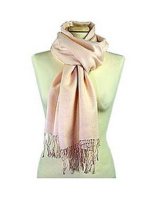 Pale Pink Pashmina and Silk Scarf - Forzieri