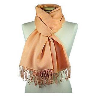 Lux-ID 210015 Peach Pashmina & Silk Shawl