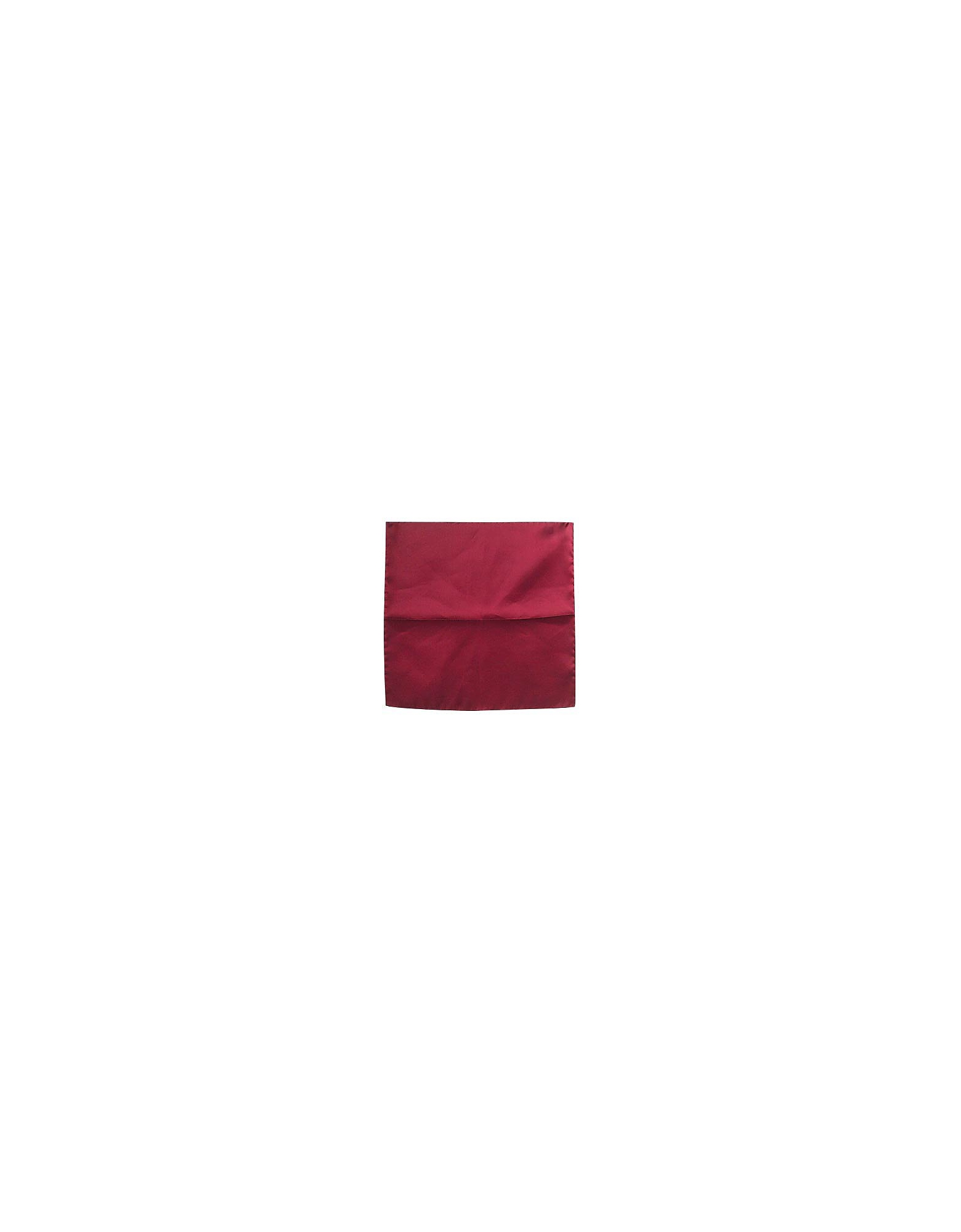 Image of Forzieri Designer Pocket Squares, Cranberry Silk Pocket Square