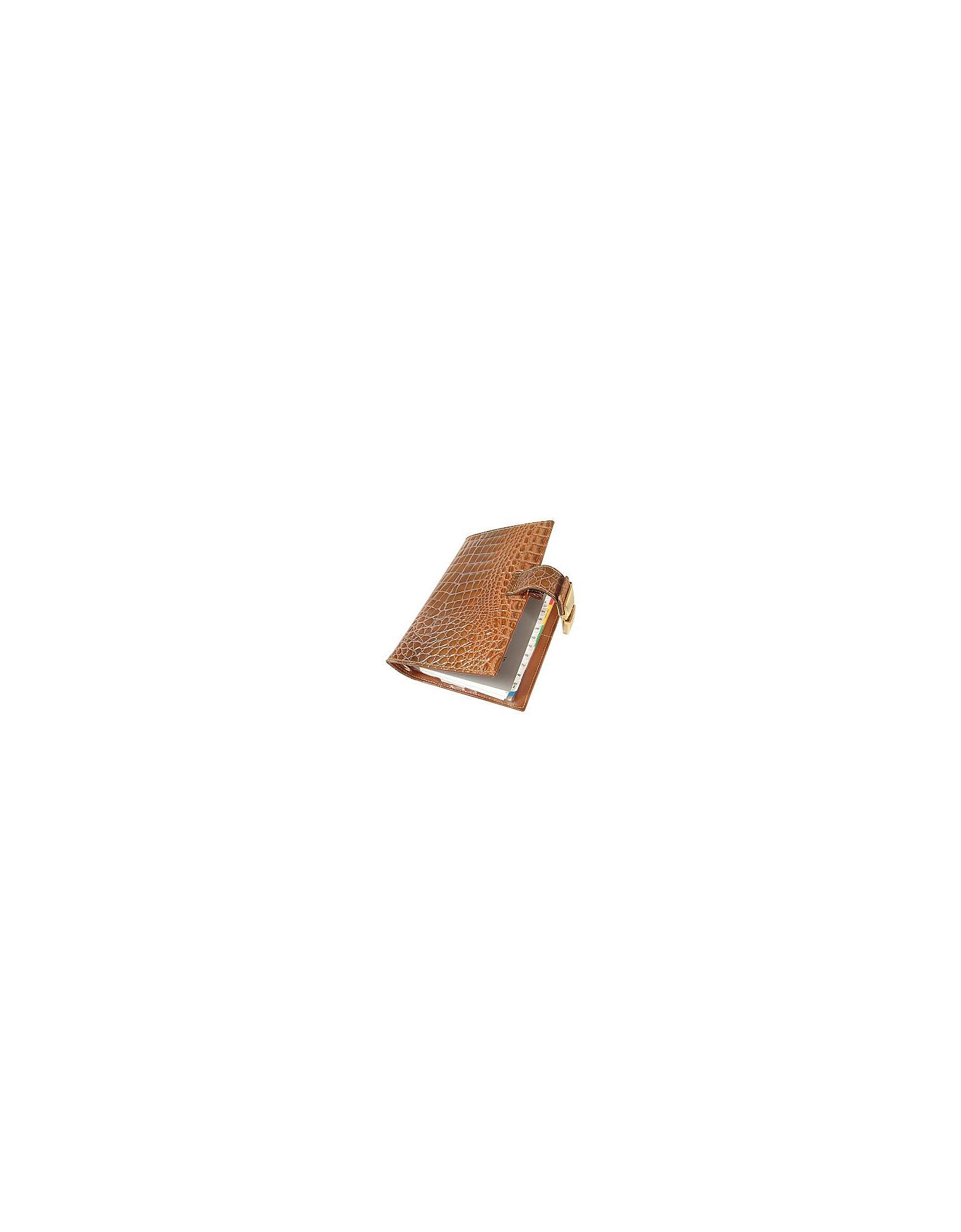 Forzieri Desk Accessories, Stamped Alligator Leather Planner