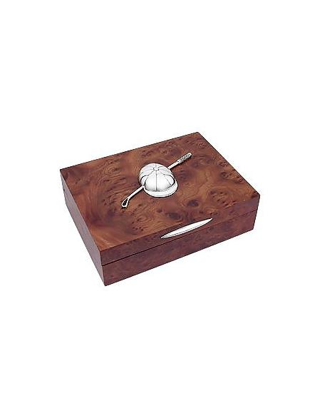 Forzieri Schmuckschatulle aus Holz mit Reiterverziehrung aus Sterling Silber