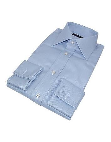 Forzieri Portofino - chemise coton fait-main bleu layette à mousquetaires