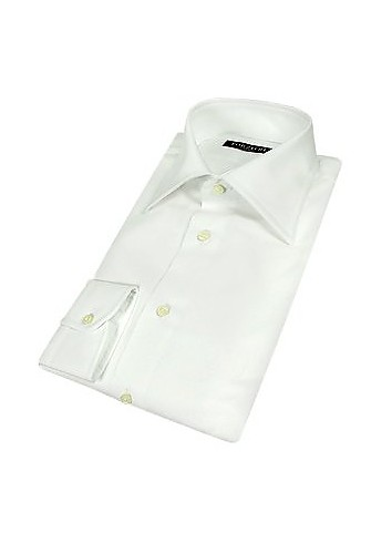 Chic Solid White Cotton Dress Shirt w/Square Buttons - Forzieri