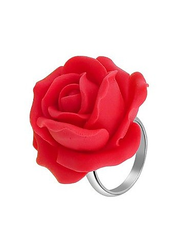 Hand Made Red Rose Sterling Silver Fashion Ring - Forzieri