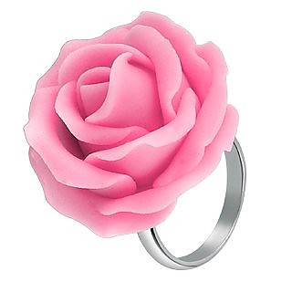 Hand Made Pink Rose Sterling Silver Fashion Ring - Forzieri
