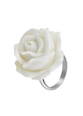 Hand Made White Rose Sterling Silver Fashion Ring - Forzieri