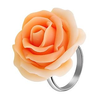 Hand Made Peach Rose Sterling Silver Fashion Ring - Forzieri
