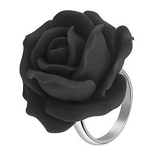 Hand Made Black Rose Sterling Silver Fashion Ring - Forzieri