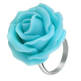 Forzieri Hand Made Baby Blue Rose Sterling Silver Fashion Ring