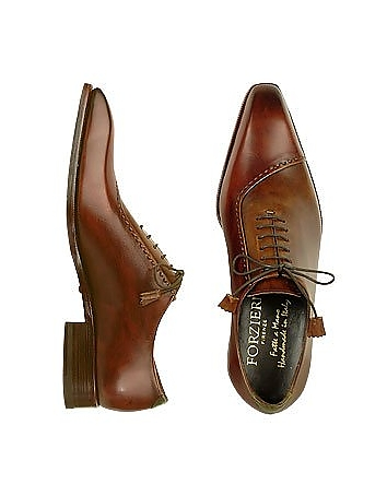 Brown Italian Handcrafted Leather Cap Toe Dress Shoes