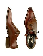 Lux-ID 208054 Brown Italian Handcrafted Leather Cap Toe Dress Shoes