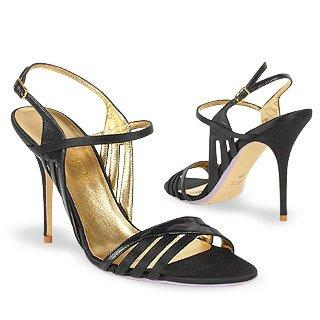 Black Satin and Leather Cutout Evening Sandal Shoes Sandal