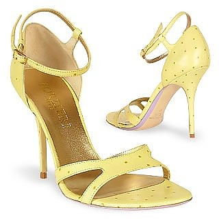 Pale Yellow Ostrich Leather Sandal Shoes - Forzieri